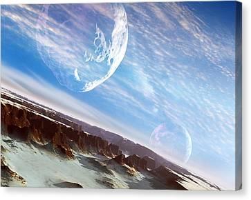 Asteroid Approaching An Alien Moon Canvas Print by Detlev Van Ravenswaay