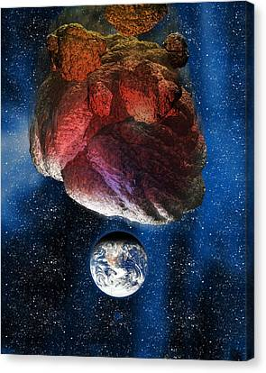 Asteroid Approaching Earth Canvas Print by Victor Habbick Visions