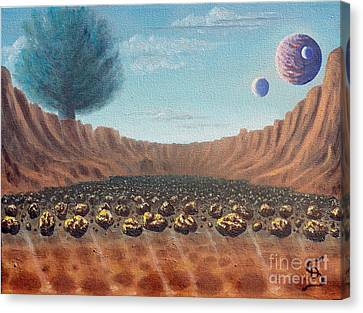 Canvas Print featuring the painting Asteroid Field From Arboregal by Dumitru Sandru