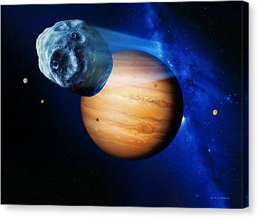 Asteroid Passing Jupiter Canvas Print by Detlev Van Ravenswaay