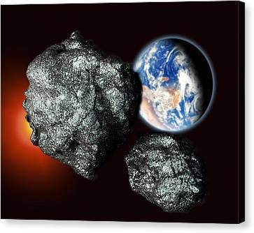 Asteroids Approaching Earth Canvas Print by Victor Habbick Visions