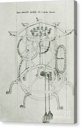 Astrarium Sketch By Giovanni De Dondi Canvas Print by Science Source