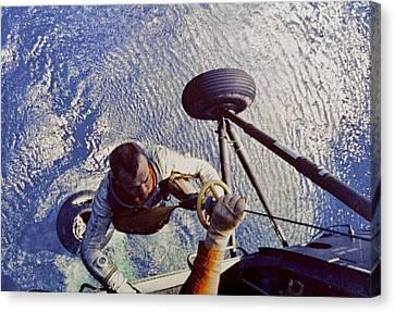 Astronaut Alan B. Shepard Is Hoisted Canvas Print by Everett