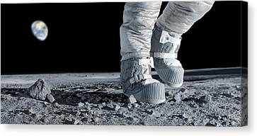Astronaut Walking On The Moon Canvas Print by Detlev Van Ravenswaay