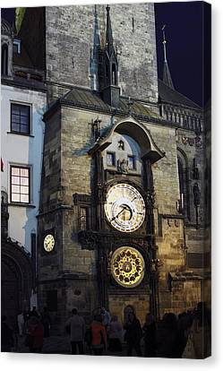 Astronomical Clock At Night Canvas Print by Sally Weigand