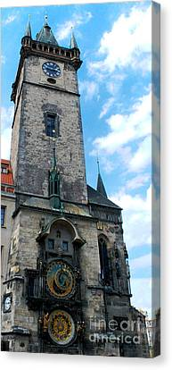 Astronomical Clock In Prague Canvas Print by Pravine Chester