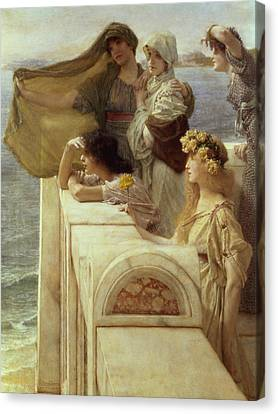 At Aphrodite's Cradle Canvas Print by Sir Lawrence Alma-Tadema