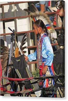 Canvas Print featuring the photograph At Blackfeet Pow Wow 03 by Ausra Huntington nee Paulauskaite