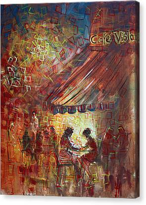 At Cafe' Viola Canvas Print