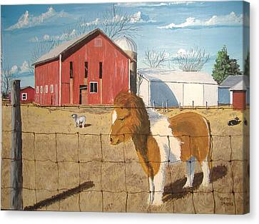 Canvas Print featuring the painting At Home by Norm Starks