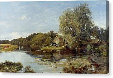 At Milton Mill On The River Irvine Canvas Print by Horatio McCulloch
