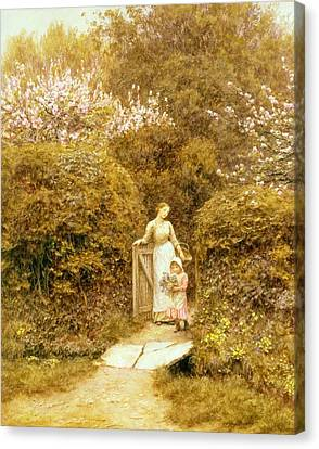 At The Cottage Gate Canvas Print by Helen Allingham