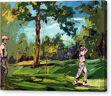 At The Golf Course Vintage Golfers Canvas Print by Ginette Callaway