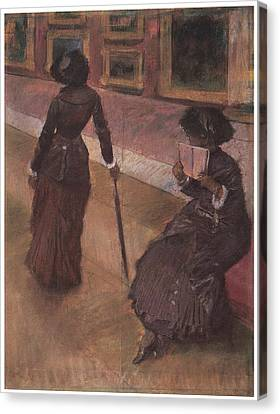 Lourve Canvas Print - At The Louvre by Edgar Degas