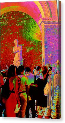 Canvas Print featuring the photograph At The Louvre by Louis Nugent