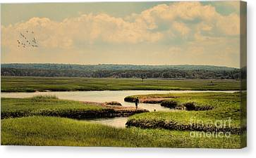 Canvas Print featuring the photograph At The Marsh by Gina Cormier