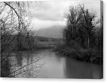 At The River Turn Bw Canvas Print