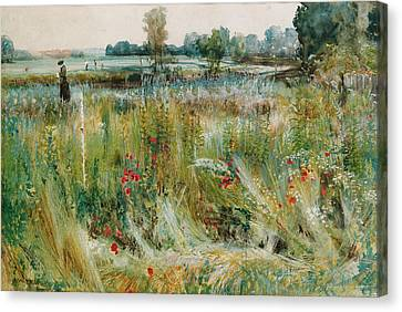 At The Water's Edge Canvas Print by John William Buxton Knight