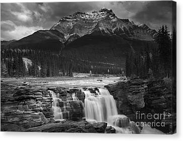 Snow-covered Landscape Canvas Print - Athabasca Falls Jasper National Park  by Keith Kapple