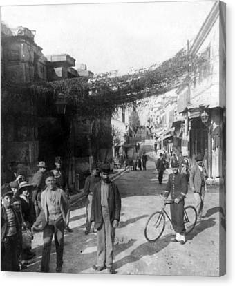 Athens Greece  C 1903 - Aeolos Street And The Stoa Of Hadrian Canvas Print by International  Images