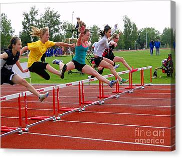 Athletic Hurdlers Competition Canvas Print