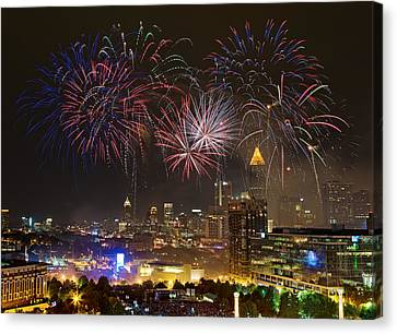 Canvas Print featuring the photograph Atlanta Fireworks by Anna Rumiantseva