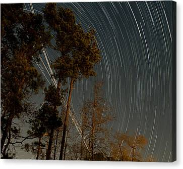 Canvas Print featuring the photograph Atlanta Star Trails by Ray Devlin