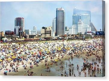 Atlantic City Beach Canvas Print by John Loreaux