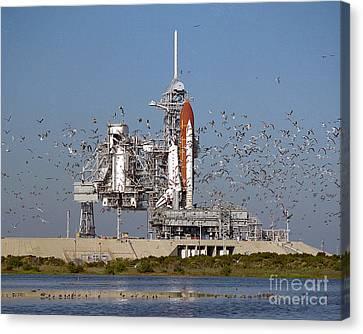 Atlantis On Launchpad Canvas Print by Nasa