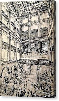 Atrium In John Wanamakers Store In Philadelphia Pa In 1909 Canvas Print
