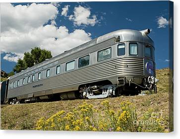 Atsf Train And Flowers Canvas Print by Tim Mulina