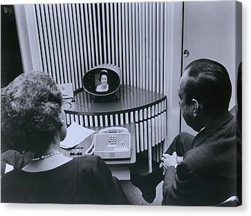 Att Inauguration Of The Picture Phone Canvas Print by Everett