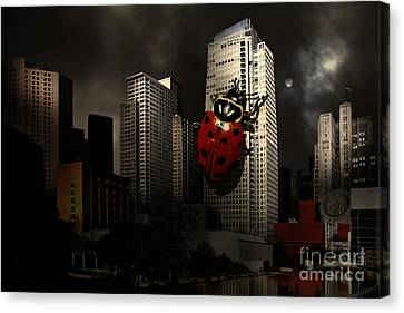 Attack Of The Giant Killer Ladybug Of San Francisco . 7d4262 Canvas Print by Wingsdomain Art and Photography
