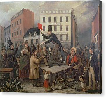 Auction In Chatam Street Canvas Print by E Didier