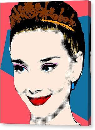 Audrey Hepburn Pop Art Coral Blue Canvas Print by Bao Studio