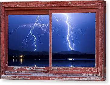 August 5th Lightning Storm Red Picture Window Frame Photo Art Canvas Print by James BO  Insogna