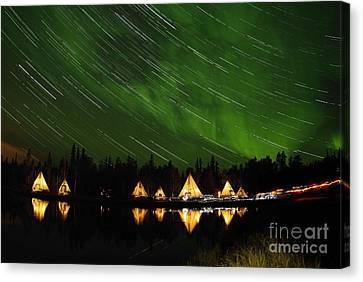 Aurora And Star Trails Canvas Print