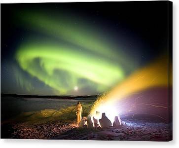 Observer Canvas Print - Aurora Watching, Time-exposure Image by Chris Madeley
