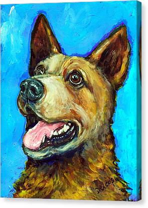 Australian Cattle Dog   Red Heeler  On Blue Canvas Print by Dottie Dracos
