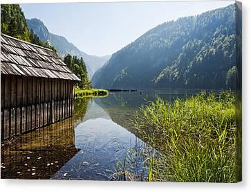 Austria, Styria, View Of Lake Toplitzsee Canvas Print