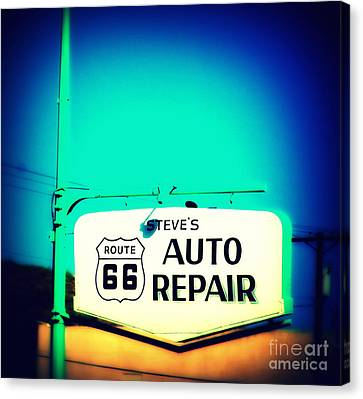 Auto Repair Sign On Route 66 Canvas Print by Susanne Van Hulst