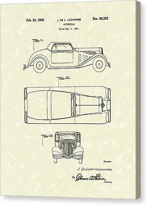 Automobile 1932 Patent Art Canvas Print by Prior Art Design