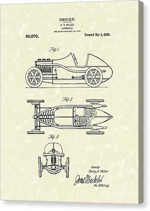 Automobile Miller 1920 Patent Art Canvas Print by Prior Art Design