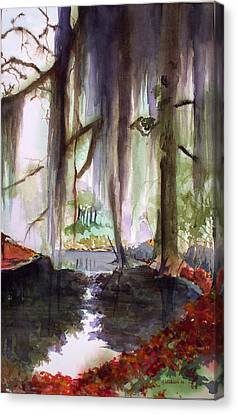 Canvas Print featuring the painting Autum Bayou by Richard Willows