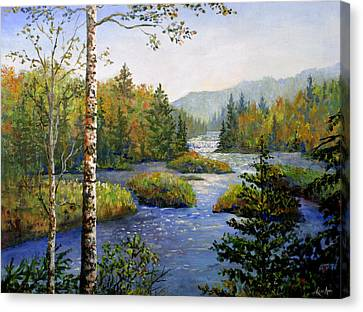 Canvas Print featuring the painting Autum In Michigan by Lou Ann Bagnall