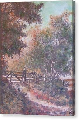 Canvas Print featuring the painting Autumn - Gate To Nowhere IIi by Richard James Digance