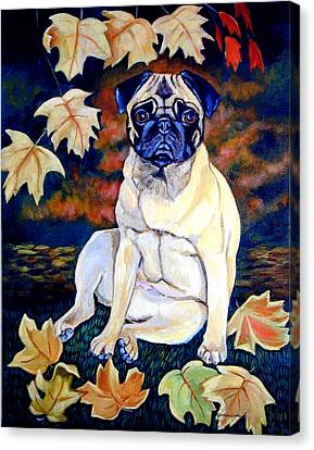 Autumn Leaf Canvas Print - Autumn - Pug by Lyn Cook