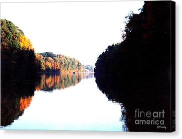 Autumn At Dusk From A Canoe Canvas Print