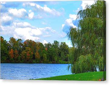 Canvas Print featuring the photograph Autumn At Hoyt Lake by Michael Frank Jr