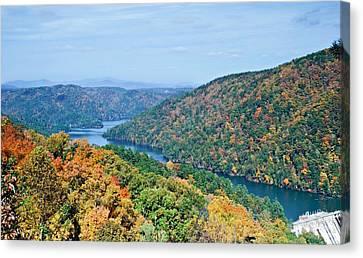 Canvas Print featuring the photograph Autumn At Lake Tugalo by Susan Leggett